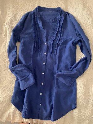 Glanzende blouse blauw