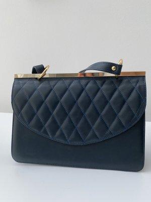 Blaue Lederhandtasche