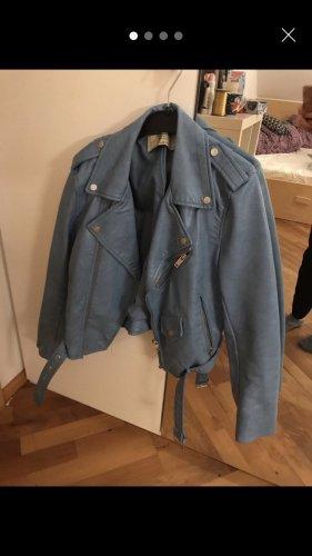 Blaue Lederjacke von Zara (XS)