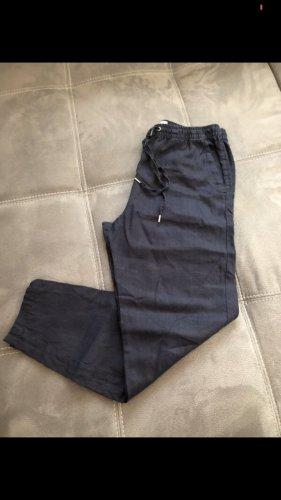 H&M Pantalón de lino azul oscuro