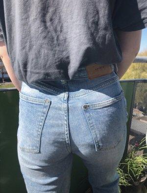 & DENIM Pantalón de cintura alta azul