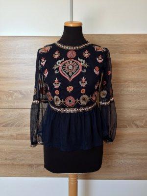 Blaue Netz Bluse, Stickerei Shirt von Zara, Gr. S (NEUw.)