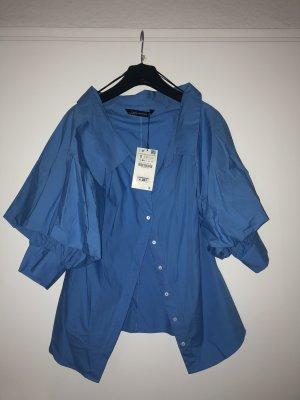 Blaue Offshoulder Bluse