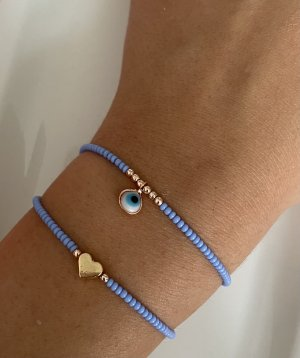 Bracelet en perles bleu acier