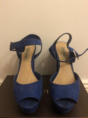 Blaue Rauleder Steve Madden Plateau High Heels