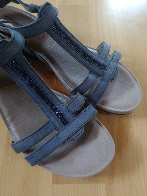 blaue Sandalen mit Glitzer