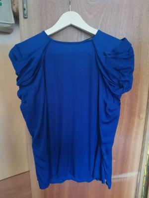 Blaue Satin Bluse / Blusenshirt / Zara / M