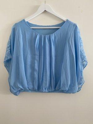 Blaue Spitzen-Fledermausärmel Bluse