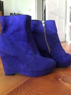 H&M Wedge Booties blue