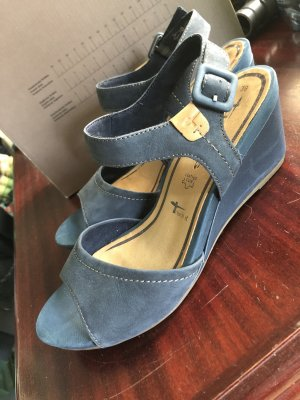 Blaue Tamaris Keil Sandalen Größe 39 Leder
