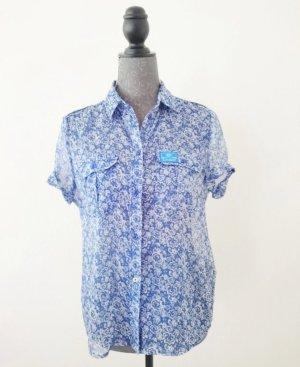 Blaue Transparente Bluse von Superdry in der Gr. S
