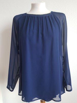 Blaue verspielte Bluse mit Perlen am Ausschnitt, Gr. 38 v. Bonita