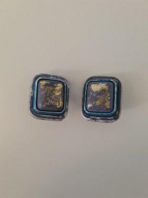 blaue viereckige Ohrclips vintage