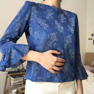 Blaue Vintage Bluse