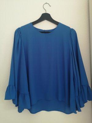 Blaue Volant-Bluse von Zara (L)