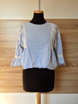 Blaue weiß Streifen Stickerei Bluse von Zara, Gr. M