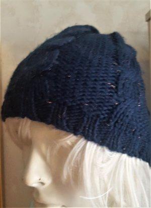 tchibo Chapeau en tricot bleu-doré laine