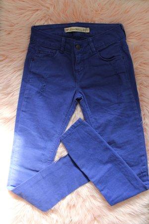 Trf by Zara Spodnie z pięcioma kieszeniami ciemnoniebieski-niebieski
