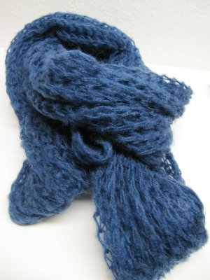 Knitted Scarf blue wool