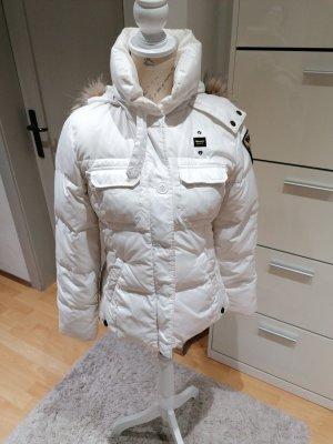 Blauer Chaqueta de invierno blanco puro