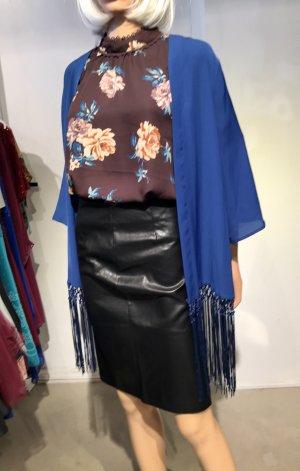 Blauer Fransen-Kimono