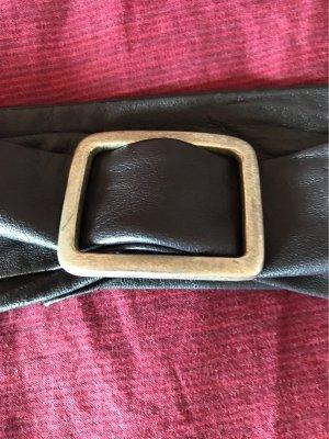 Espresso Cinturón de cuero de imitación azul oscuro