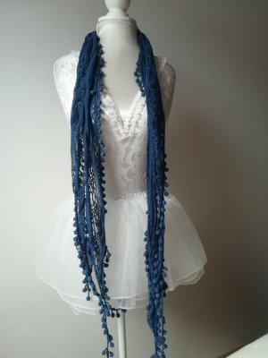 Bufanda de ganchillo azul