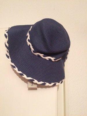 Lavand Sombrero de ala ancha azul oscuro-blanco puro