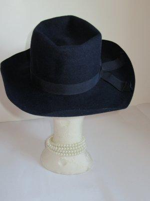 Vintage Chapeau en feutre bleu foncé