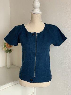 Blauer kurzärmeliger Pullover aus Merinowolle mit Reißverschluss