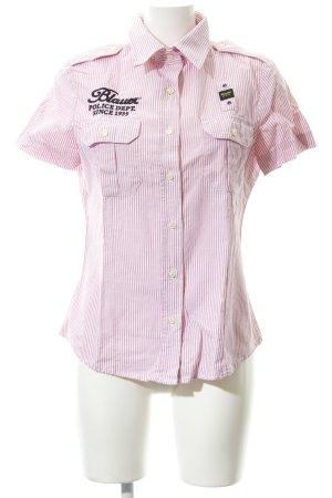 Blauer Blouse à manches courtes blanc-rose lettrage brodé style décontracté