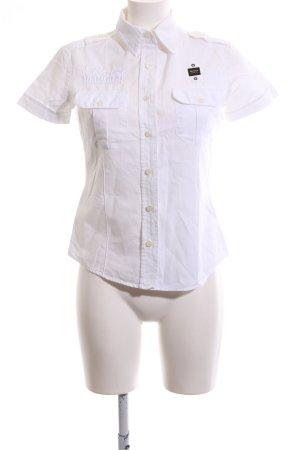 Blauer Koszula z krótkim rękawem biały W stylu biznesowym