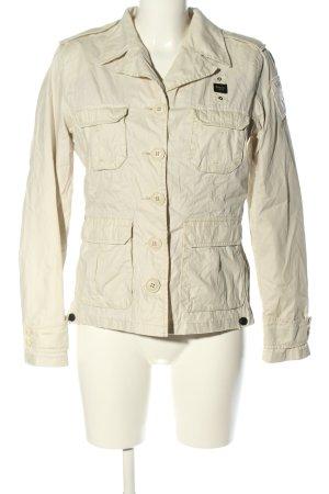 Blauer Krótka kurtka w kolorze białej wełny W stylu casual