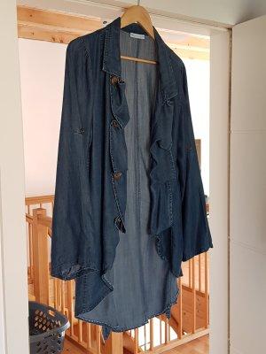 Geklede jas donkerblauw-antraciet