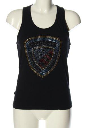 Blauer Koszulka o kroju podkreślającym sylwetkę czarny Nadruk z motywem