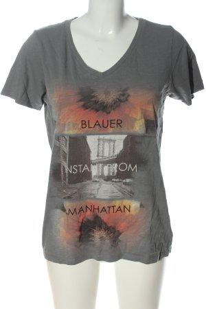 Blauer T-shirt imprimé motif de fleur style décontracté