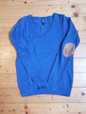 1982 Sweter z dekoltem w kształcie litery V niebieski
