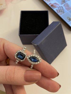 Blauer Ring Zierstein Set 2teilig Nagelneu Silber Schmuck