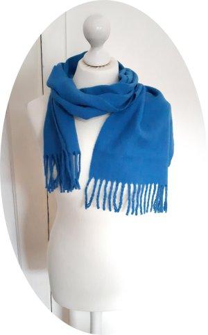 Woolen Scarf blue-cornflower blue wool