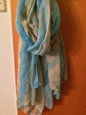 Écharpe en tricot beige clair-bleu clair polyester