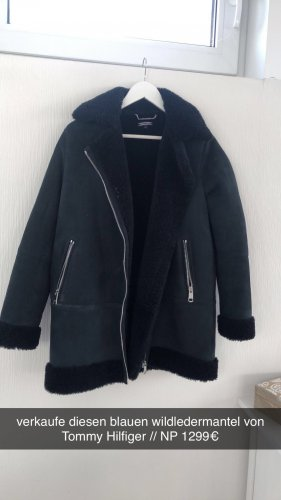 Tommy Hilfiger Abrigo de cuero azul oscuro