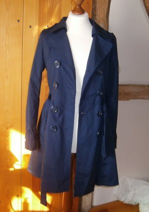 H&M Divided Trench blu scuro Cotone
