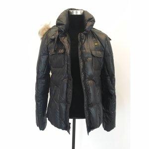 Blauer USA gefütterte Nylon Jacke Daunenjacke mit Fellkapuze Steppjacke schwarz XL