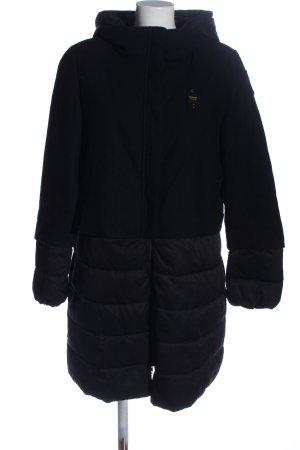 Blauer USA Veste à capuche noir motif de courtepointe style décontracté