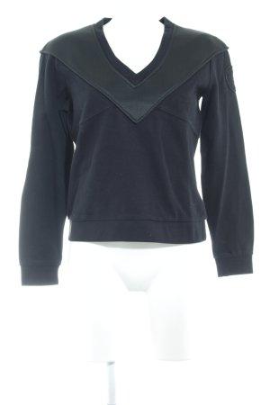 Blauer V-Ausschnitt-Pullover schwarz Casual-Look