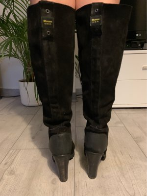 Blauer Overknees black-yellow