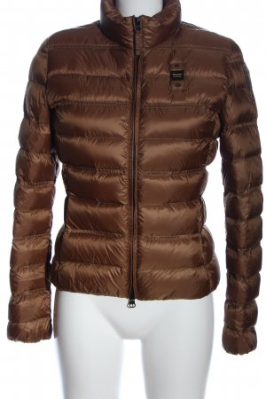 Blauer Veste d'hiver brun motif de courtepointe style décontracté