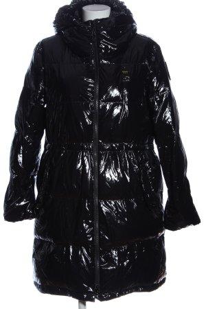 Blauer Veste d'hiver noir motif de courtepointe style décontracté