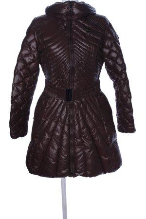 Blauer Manteau d'hiver brun motif de courtepointe style décontracté
