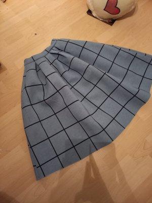 Topshop Falda a cuadros negro-azul celeste